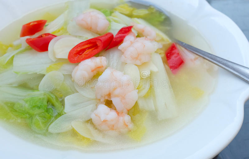 Chinese food. Cabbage with prawns and red peppers stock photos