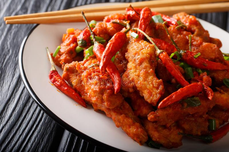 Chinese food chicken in Schezwan sauce close-up on a plate. horizontal stock images