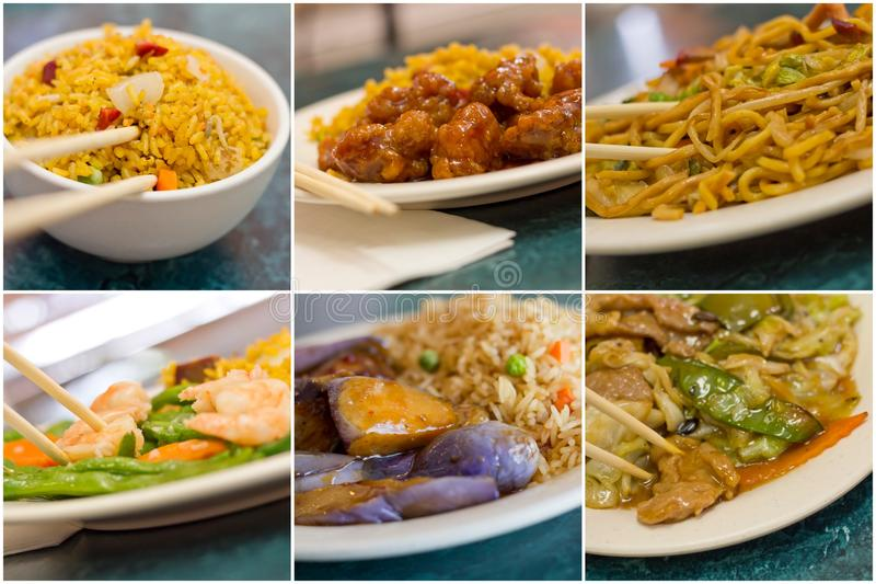 Chinese Food Collage. Various popular Chinese food take out dishes in collage image royalty free stock photos