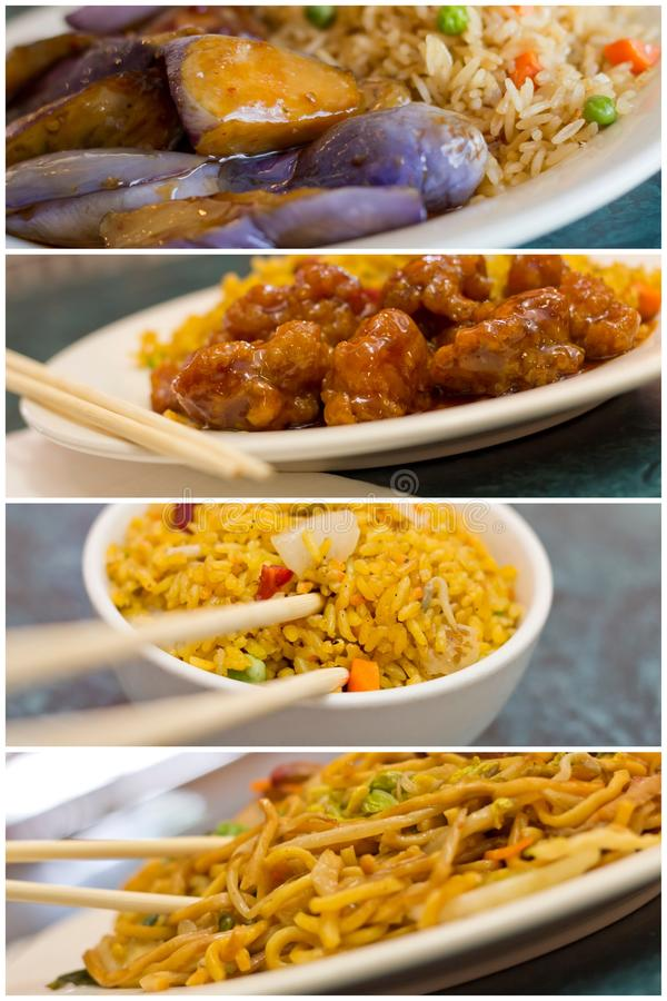 Chinese Food Collage. Various popular Chinese food take out dishes in collage image stock photography