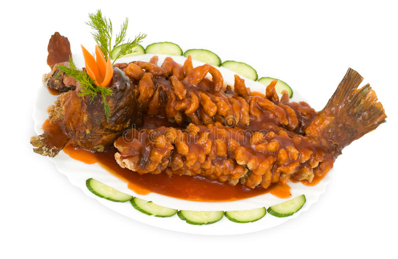 Chinese food. Fried carp stock photo