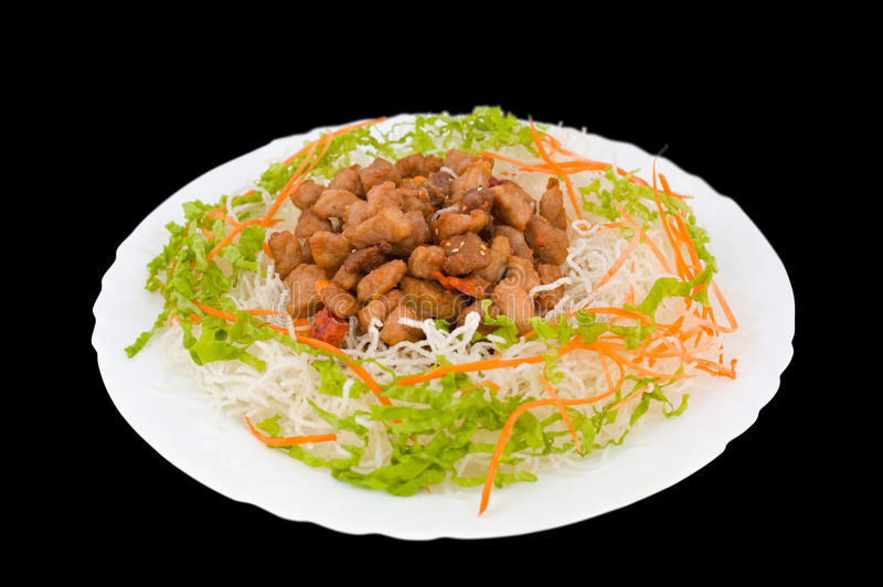 Download Chinese Food. Fried Pork, Clipping Path. Stock Photo - Image: 13590030