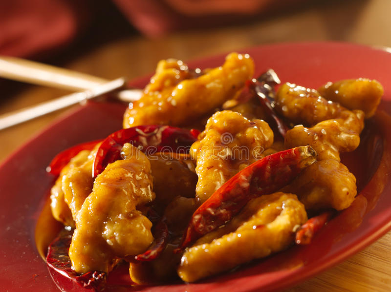 Chinese food -General Tso's chicken. General Tso's chicken shot close up and with selective focus stock images