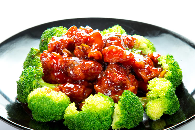 Chinese food general tso's chicken (General Chang's Chicken). General Tso's chicken is a sweet, slightly spicy, deep-fried chicken dish that is popularly served royalty free stock photos