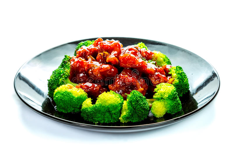 Chinese food general tso's chicken (General Chang's Chicken). General Tso's chicken is a sweet, slightly spicy, deep-fried chicken dish that is popularly served stock image