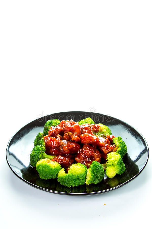 Chinese food general tso's chicken (General Chang's Chicken). General Tso's chicken is a sweet, slightly spicy, deep-fried chicken dish that is popularly served stock photos