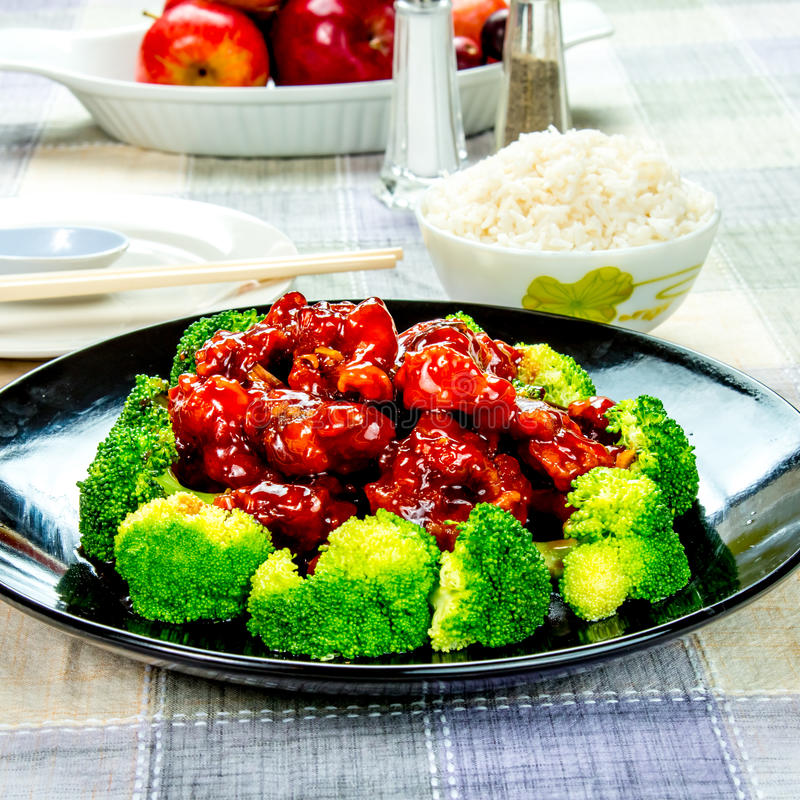 Chinese food general tso's chicken (General Chang's Chicken). General Tso's chicken is a sweet, slightly spicy, deep-fried chicken dish that is popularly served royalty free stock photography