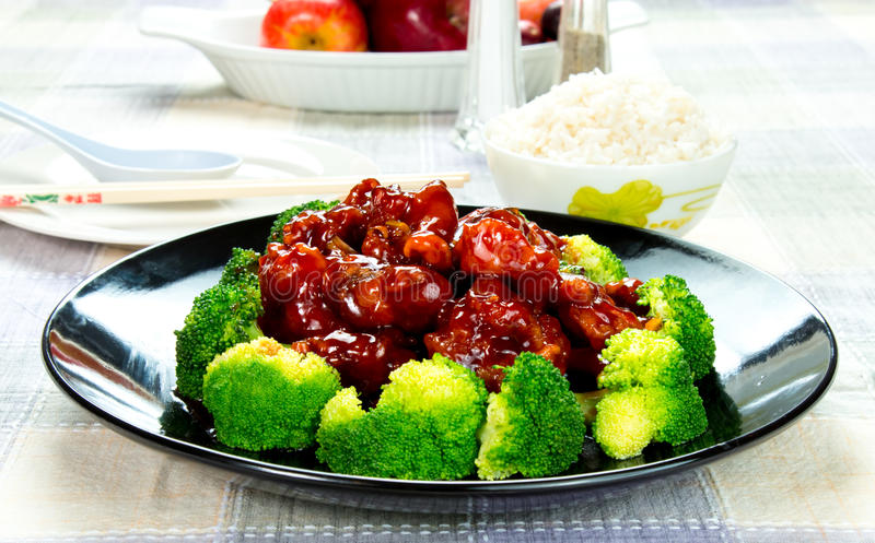 Chinese food general tso's chicken (General Chang's Chicken). General Tso's chicken is a sweet, slightly spicy, deep-fried chicken dish that is popularly served stock photo
