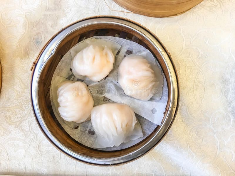 Chinese food har gow. Chinese food call har gow is wrap dough stuffed with shrimp in restaurant. Top view stock photo
