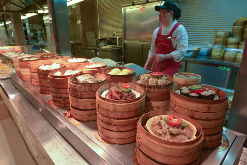 Chinese food market in Shanghai China. SHANGHAI - MAR 15 2015:Chinese food on display in a food market in Shanghai China.Chinese cuisine go back for thousands of stock photo