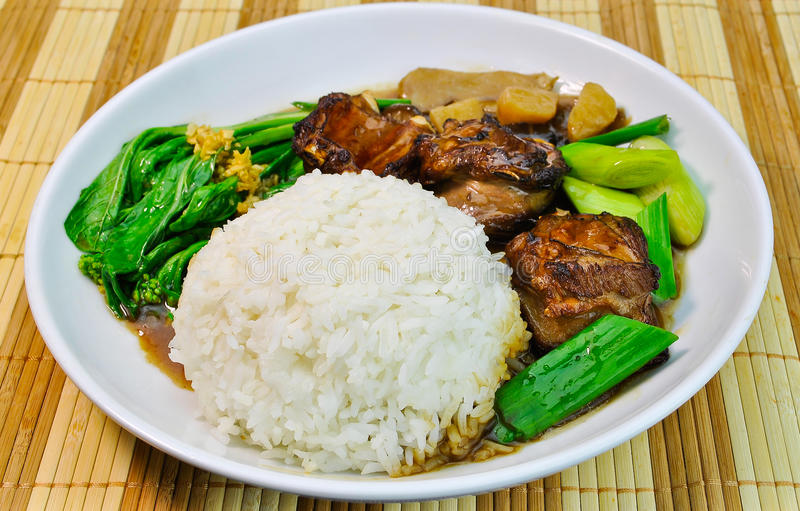 Chinese food mutton rice with vegetable stock photo for Colazione cinese