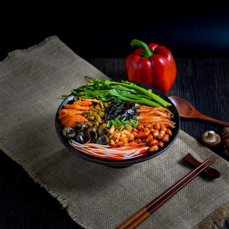 Chinese food and Chinese noodles south Chinese food. It`s a kind of Southern Chinese noodles, made of noodles and other spicy food royalty free stock image