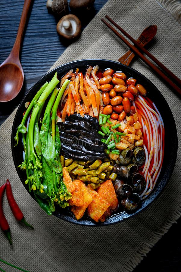 Chinese food and Chinese noodles south Chinese food. It`s a kind of Southern Chinese noodles, made of noodles and other spicy food stock photo