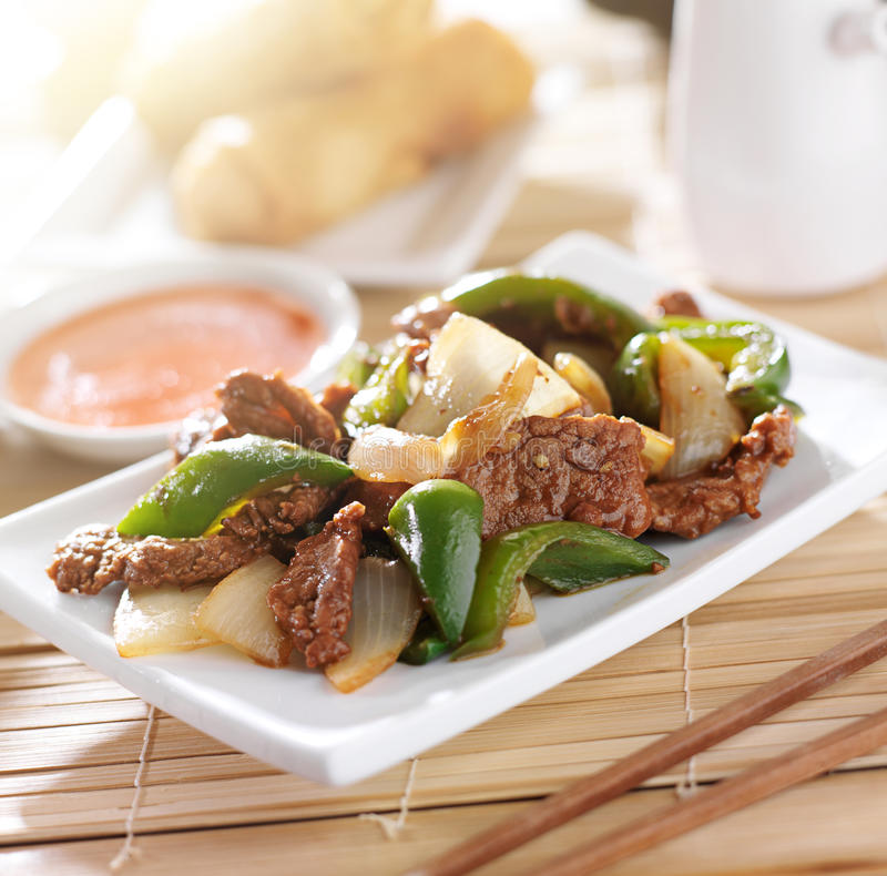 Chinese food - Pepper beef at restaurant royalty free stock photography