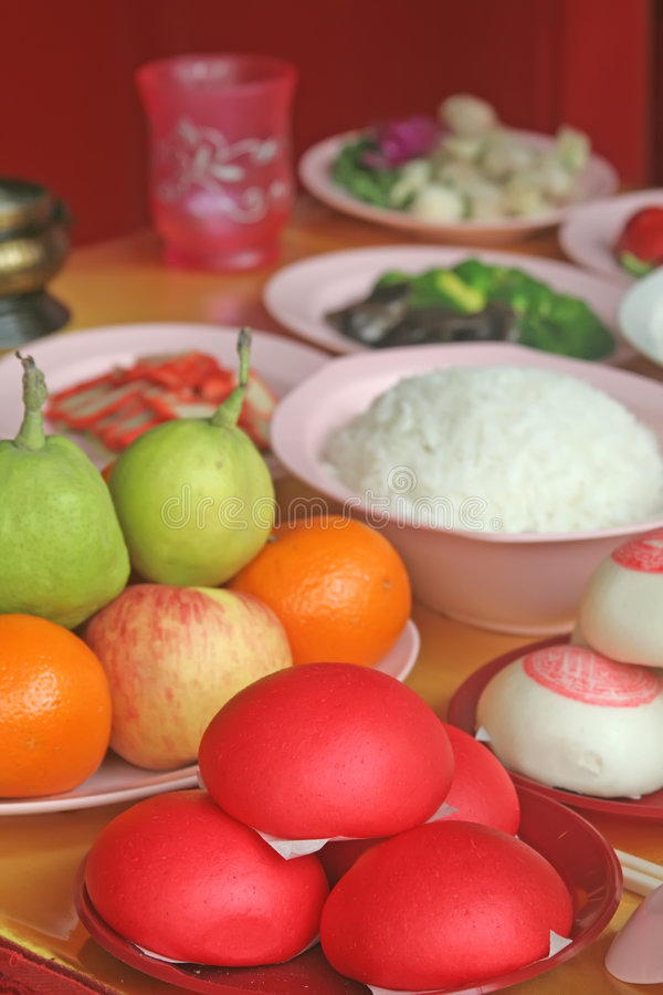 Chinese Food Prayer Offerings for Religious Purpose stock image