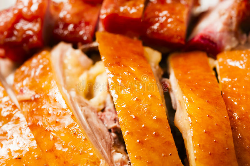Chinese food--Roast chicken. With rice in the white plate royalty free stock photography