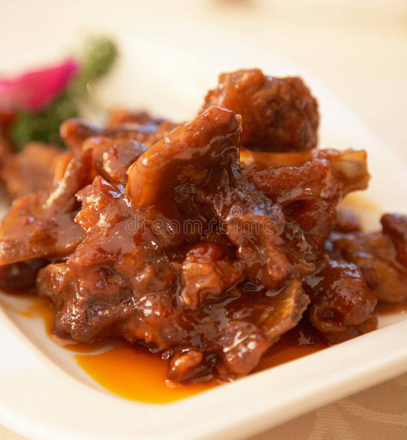 Chinese food series. Chinese food - Sweet and Sour Spare Ribs stock image