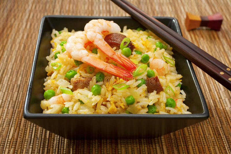 Chinese Food Special Yangchow Fried Rice. Special fried rice, or Yangchow fried rice, favourite Chinese food where barbecue pork, shrimp or prawn, onions and stock photography