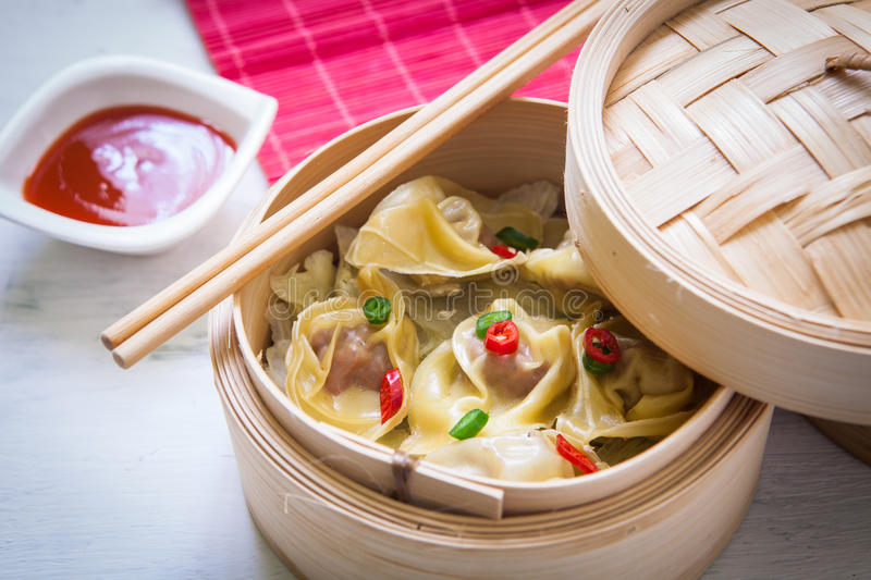 Chinese food on steam royalty free stock image
