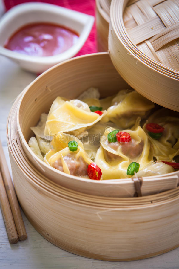 Chinese food on steam royalty free stock images