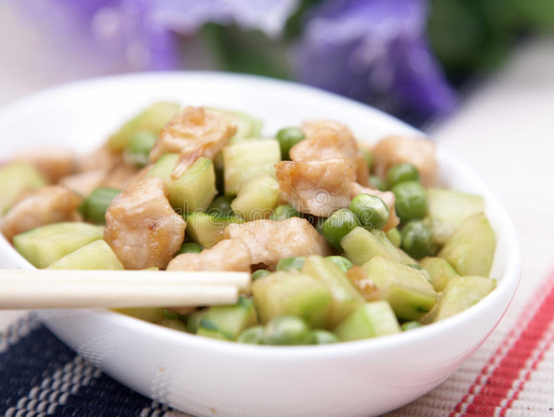 Chinese food - stir-fry. Chinese food- Stir-fried chicken and vegetables stock images