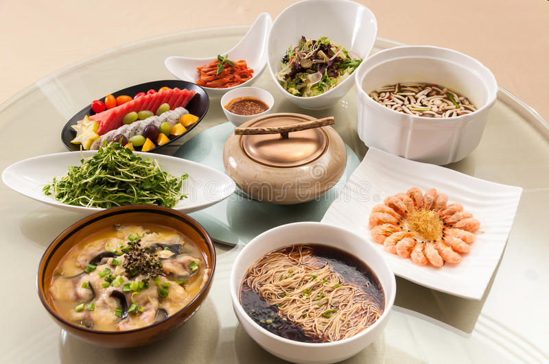Chinese food. A table of dishes stock photos