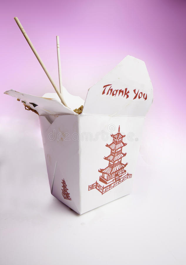 Chinese food. Take-out with chop sticks royalty free stock photos