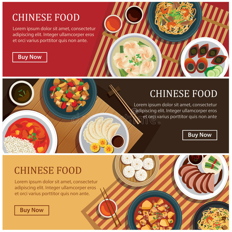 Chinese food web banner.Chinese street food coupon. royalty free illustration