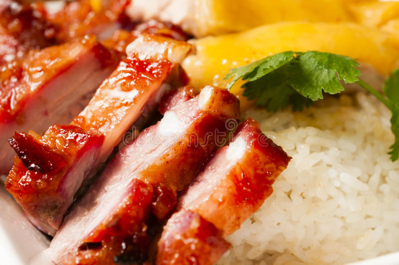 Chinese food--white chicken and Barbecued pork royalty free stock photo