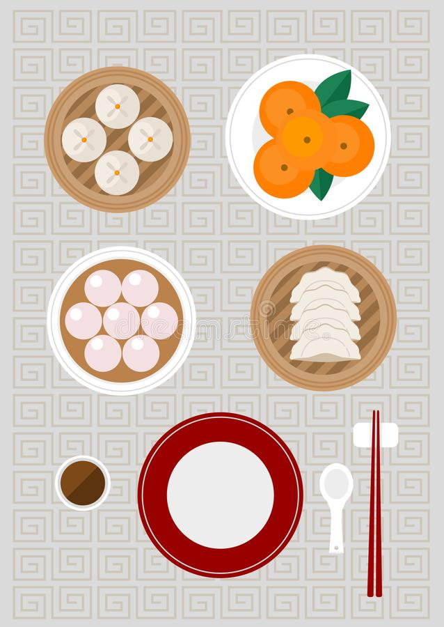 Chinese foods included Siopao Tangyuan Gyoza and fresh oranges. Vector stock illustration