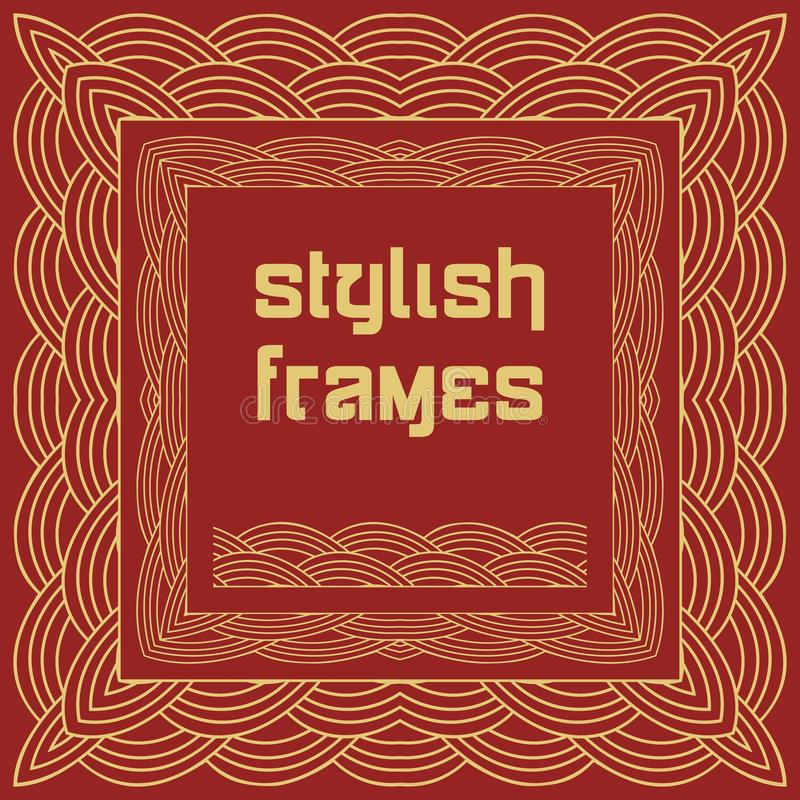 Chinese frames in oriental style on red background. Golden wave ornament. Greeting card. Chinese traditional design, golden vector illustration