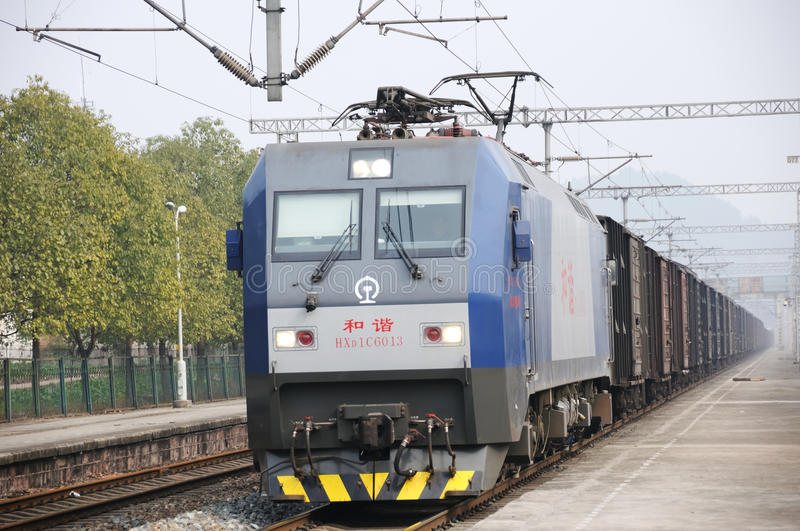 Download Chinese Freight train editorial stock photo. Image of city - 18610513