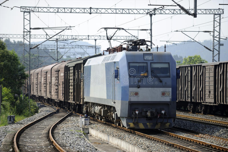 Chinese Freight train. A running chinese Freight train royalty free stock image