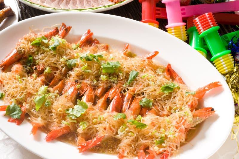Chinese fried garlic shrimp stock photos