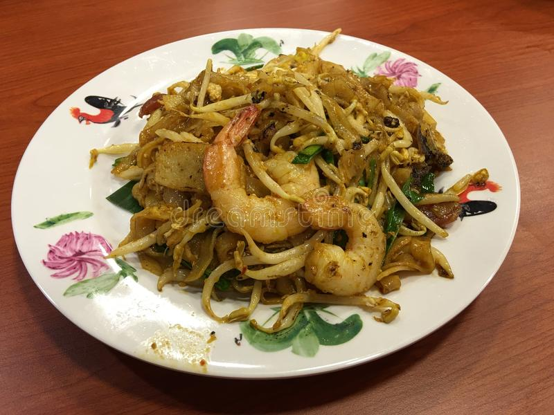 Chinese Fried Kway Teow. Chinese cuisine fried kway teow with prawn royalty free stock image