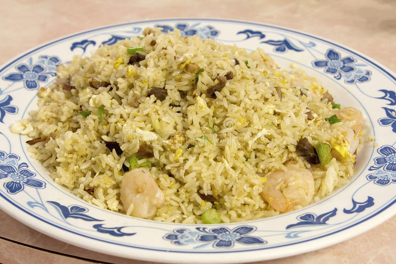 Chinese Fried Rice with Barbeque Pork and Shrimp stock photos