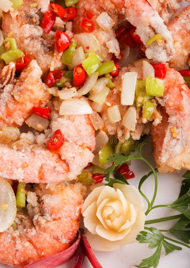 Chinese fried shrimps in breading. Top view stock photos