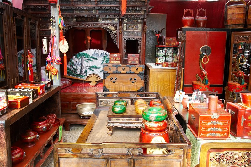 Chinese furniture display royalty free stock photography