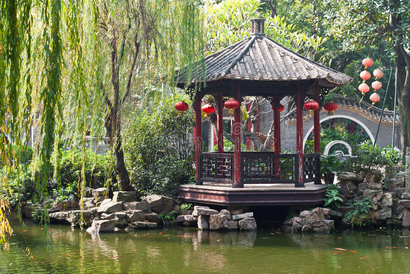 Chinese garden stock photo image of gardens ming willow for Decoration jardin chinois