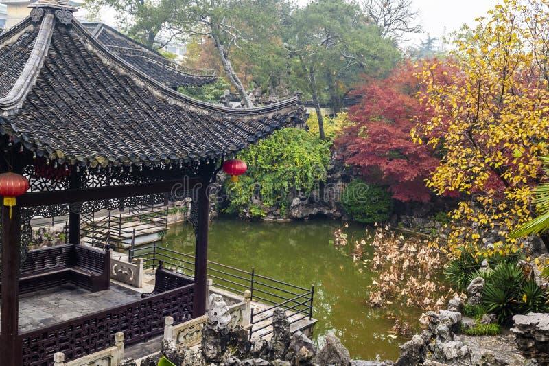 Chinese garden in autumn stock photo