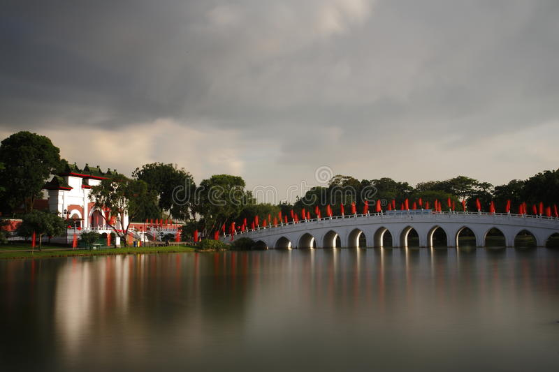 Download Chinese Garden bridge stock image. Image of boat, trees - 29018767