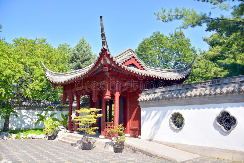 Chinese garden. MONTREAL CANADA AGUSTE 21 2015: Chinese garden of Montreal's botanical garden is considered to be one of the most important botanical gardens in royalty free stock photo