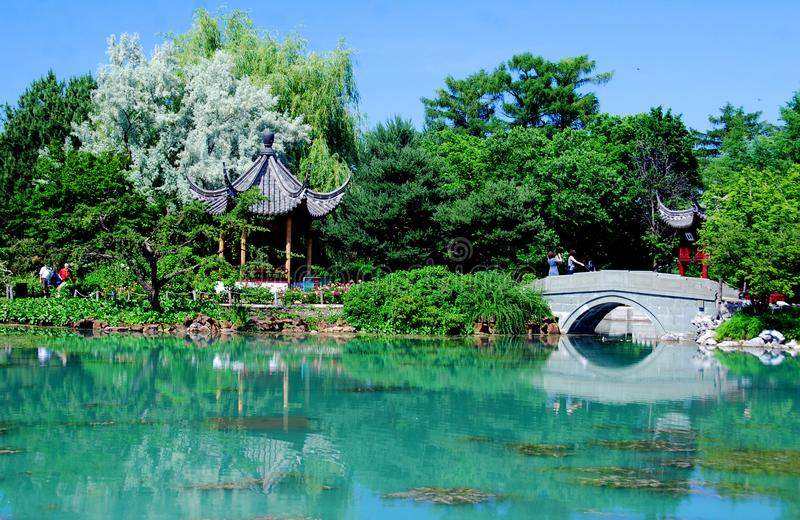 Chinese garden of Montreal`s botanical garden. MONTREAL CANADA AGUSTE 21 2015: Chinese garden of Montreal`s botanical garden is considered to be one of the most stock photos