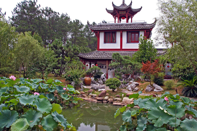 Chinese garden with pavilion. Beautiful chinese garden in anhui province with pavilion in the center stock photo