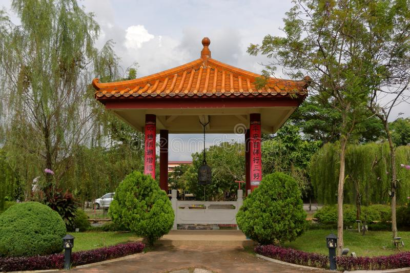 Chinese garden in a temple royalty free stock photo
