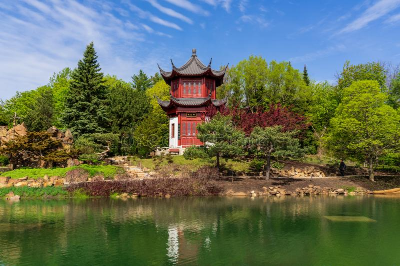 Chinese gardens management at Montreal Botanical Garden royalty free stock images