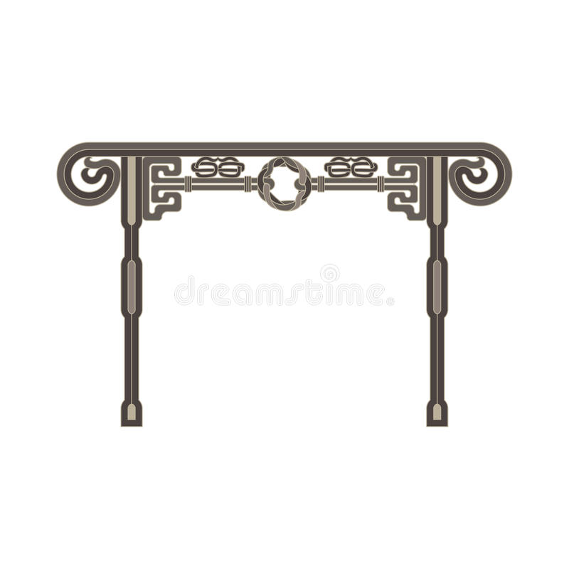 Chinese gate front view monochrome flat in gray color theme. Illustration object royalty free illustration