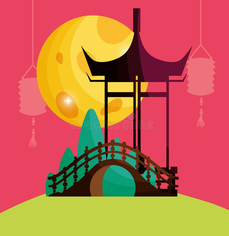 Chinese gate lanterns and moon. Vector illustration stock illustration