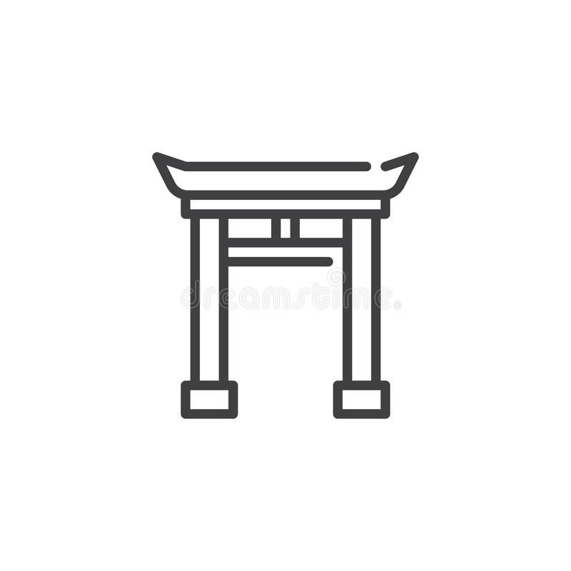 Chinese Gate line icon. Linear style sign for mobile concept and web design. Chinese Arch outline vector icon. Symbol, logo illustration. Pixel perfect vector royalty free illustration