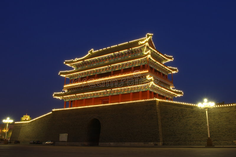 Chinese gate tower in beijing stock images